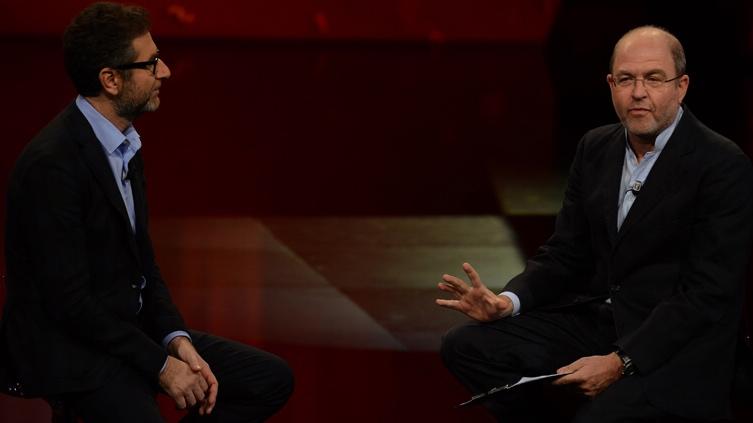 Foto Nicoloro G.   17/10/2015  Milano    Trasmissione televisiva su Rai 3 ' Che fuori tempo che fa '. nella foto Fabio Fazio e il giornalista Massimo Gramellini.