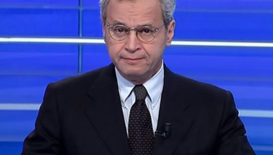 Enrico Mentana dà l'annuncio dell'incidente a Mario Bambea