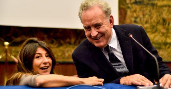 Ilaria Dallatana, direttrice di Rai 2, con Michele Santoro alla presentazione di «Italia»