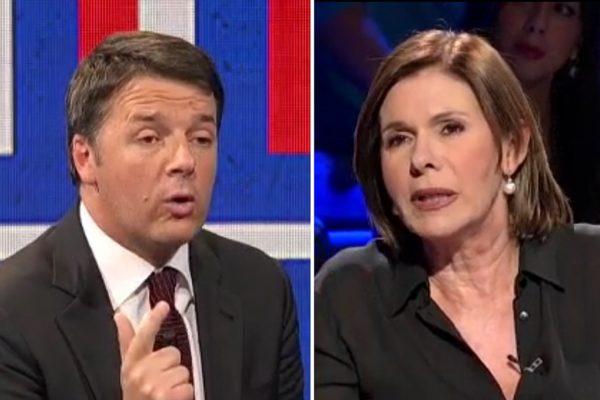 Scintille tra Matteo Renzi e Bianca Berlinguer a «Politics» di Rai 3