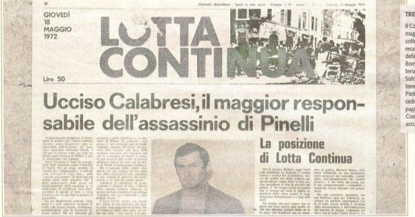 Il giornale «Lotta continua» del 18 maggio 1972, il giorno dopo l'assassinio di Luigi Calabresi