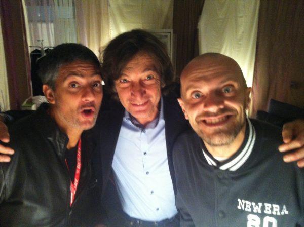 Claudio Cecchetto con Fiorello e Max Pezzali, due degli artisti da lui lanciati